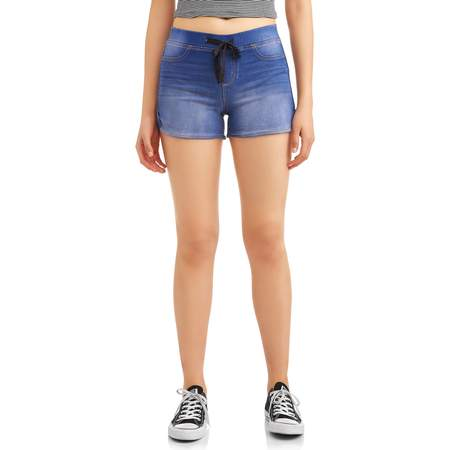 - Juniors' Ribbed Tie Waist Dorm Shorts (Denim & Color Washes)