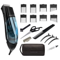 Remington Vacuum Trimmer and Hair Clipper, 18-Piece Vacuum Haircut Kit, Easy Cleanup, Black, HKVAC2000A