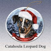 9c019a389a16e Holiday Pet Gifts Catahoula Leopard Santa Hat Dog Porcelain Christmas Tree  Ornament
