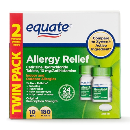 Equate Allergy Relief Cetirizine Tablets, 10 mg, 2 Pack (90 (Relief 90 Tablets)