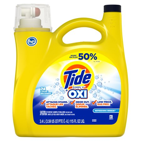 Tide Simply +Oxi Liquid Laundry Detergent, Refreshing Breeze, 74 Loads 115 fl oz 2x Concentrated Liquid Detergent