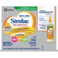 Similac Pro-Sensitive Non-GMO with 2'-FL HMO Infant Formula 2 oz Bottles (Pack of 6)