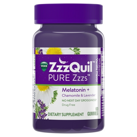 Vicks ZzzQuil PURE Zzzs Melatonin Natural Flavor Sleep Aid Gummies with Chamomile, Lavender, & Valerian Root, 1mg per gummy, 60 Count