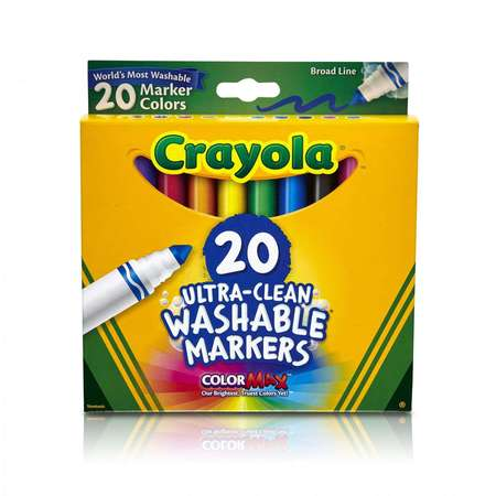 Wholesale Washable Markers (Crayola 20 Count Classic Ultra-Clean Washable Broad Line Markers)