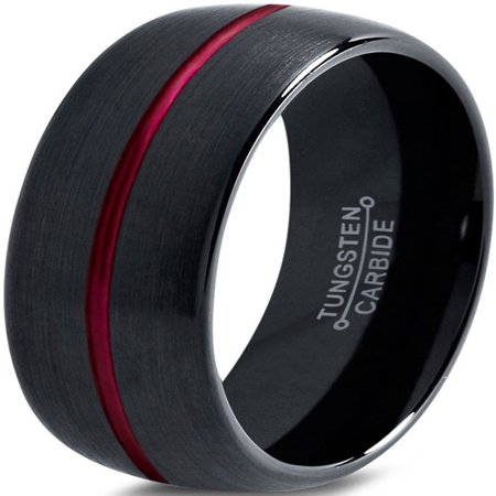 Tungsten Wedding Band Ring 10mm for Men Women Red Black Domed Brushed Polished Lifetime Guarantee](Red Wedding Ring)