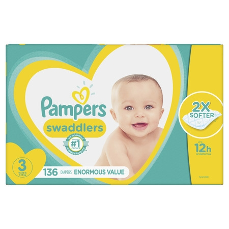 Pampers Swaddlers Diapers Size 3 136 Count - Large Baby Diapers
