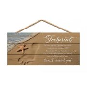 fa4204628e3a FOOTPRINTS IN THE SAND Distressed Wood Hanging Sign