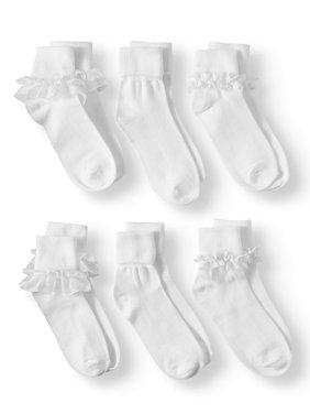 Wonder Nation Girls' Lace Dress Socks, 6 Pairs