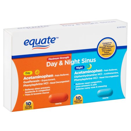 Equate Maximum Strength Day & Night Sinus Caplets, 20 Count