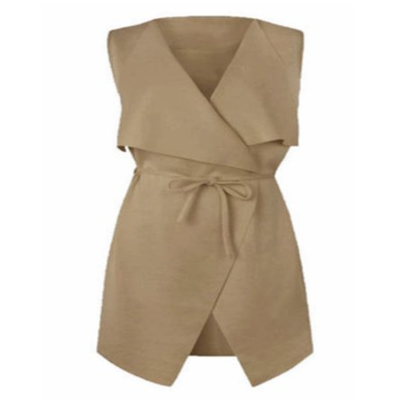 Fashion Women Long Shawl Collar Sleeveless Long Vest Coat Draped Cardigan Top