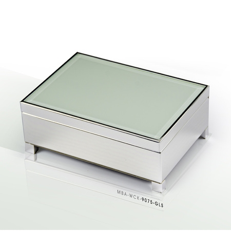 Contemporary 18 Note White Spray Glass with Silver Finish Base Musical Jewelry Box - 12 Days of Christmas - Francisco Glass Music Box