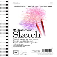 "Strathmore 200 Series Sketch Pad, 50 Pound, 5.5"" x 8.5"", 100 Sheets, Side Wire Bound"