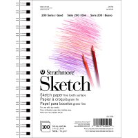 """Strathmore 200 Series Sketch Pad, 50 Pound, 5.5"""" x 8.5"""", 100 Sheets, Side Wire Bound"""