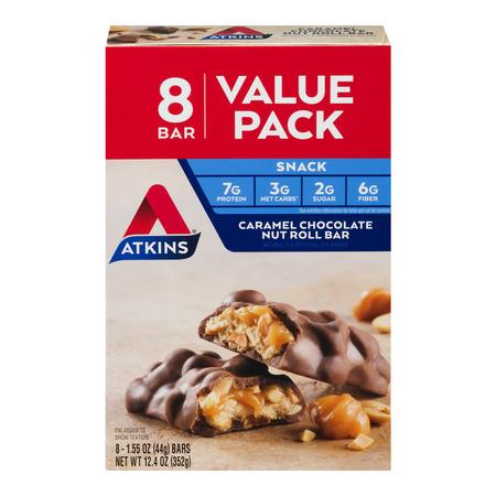 Atkins Caramel Chocolate Nut Roll Bar, 1.55oz, 8-pack (Snack