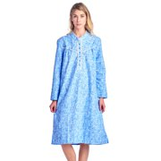 Casual Nights Women s Flannel Floral Long Sleeve Nightgown - Blue - 3X-Large 73e3a6800