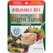 (6 Pack) BUMBLE BEE Premium Light Tuna in Water, 2.5 Ounce Pouch, Ready to Eat Tuna Fish, High Protein Food and Snacks
