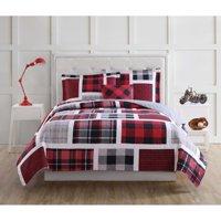Laura Hart Kids Buffalo Plaid Twin Quilt Set with BONUS Decorative Pillow