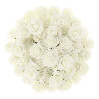 Artificial Roses with Stems- Real Touch Fake Flowers for Home Decor, Wedding, Bridal/Baby Shower, Centerpiece, More, 50 Pc Set by Pure Garden (Ivory)