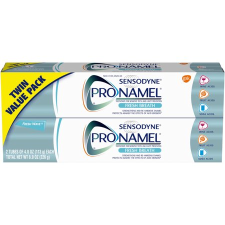 Sensodyne Pronamel Fresh Wave Fluoride Toothpaste to Strengthen and Protect Enamel, 8 ounces Twinpack (4 (Sensodyne Complete Protection Vs Repair And Protect)