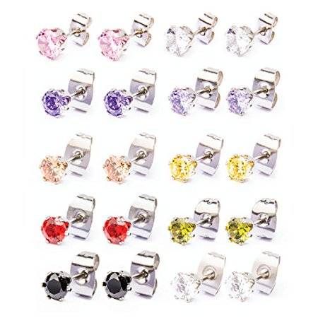 BodyJ4You® Earrings Set Stud Colored Cubic Zirconia Pink Blue Green Steel 5mm Fashion Jewelry 3 Pieces