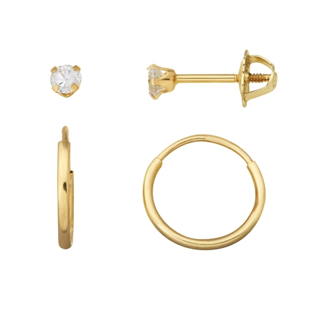 Kids' 10kt Yellow Gold 3mm CZ Stud and 12mm Endless Hoop Earrings Set - Clip On Earrings Kids