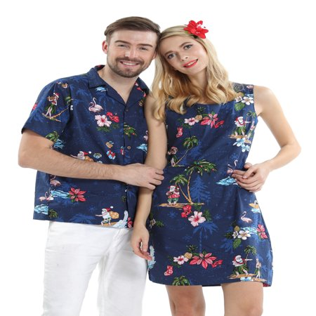 Couple Matching Hawaiian Luau Cruise Christmas Outfit Shirt Dress Santa Navy Men M Women 2XL - Womens Christmas Suits