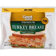 Great Value Thin Sliced Premium Oven Roasted Turkey Breast, 16 Oz.