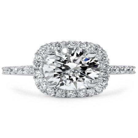 0.067 Ct Diamond (1 3/4 CT Cushion Halo Diamond Engagement Ring Round G-SI 14K White Gold)