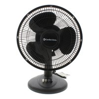 "Comfort Zone 12"" Oscillating Table 3-Speed Fan, Model #CZ121BK, Black"