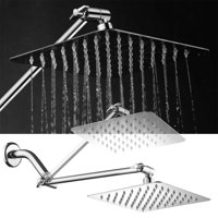 HotelSpa® Mega-Size 8-inch Stainless Steel Square Rainfall Shower Head with 12-inch Shower Arm