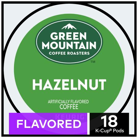 Green Mountain Coffee Hazelnut, Flavored Keurig K-Cup Pod, Light Roast, 18 Ct