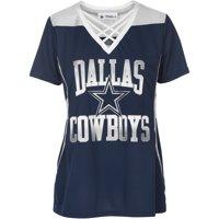 Women's Navy/Silver Dallas Cowboys Kalina V-Neck T-Shirt