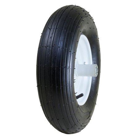"Marathon Industries 20001 8"" Pneumatic Wheelbarrow Tire with Ribbed Tread 6"" Centered Hub"