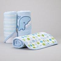 Spasilk 3 Hooded Towel Set, Blue Whale