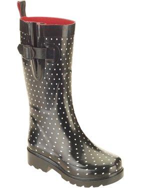 Women's Diamond Dot Printed Mid-Calf Rubber Rain Boots