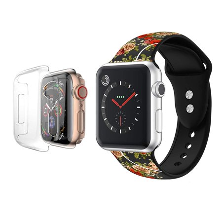 Apple Watch Bands 42mm Soft Silicone Wristband with Full Body Clear Hard Temper Glass Screen Protector for iWatch Apple Watch Series 1/2/3/Nike+ -Black Rose Floral