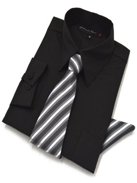Johnnie Lene Boys Long Sleeve Dress Shirt with Tie and Handkerchief JL26