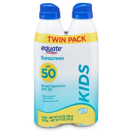Equate Kids Broad Spectrum Sunscreen Spray Twin Pack, SPF 50, 5.5 oz, 2