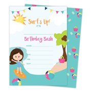 Beach Girl 3 Happy Birthday Invitations Invite Cards 25 Count With Envelopes Seal