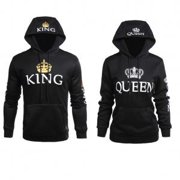 eb9e2454ac0 Fancyleo Ladies and Gents Couples King Queen Pullover Hoodie Couples  Sweatshirt