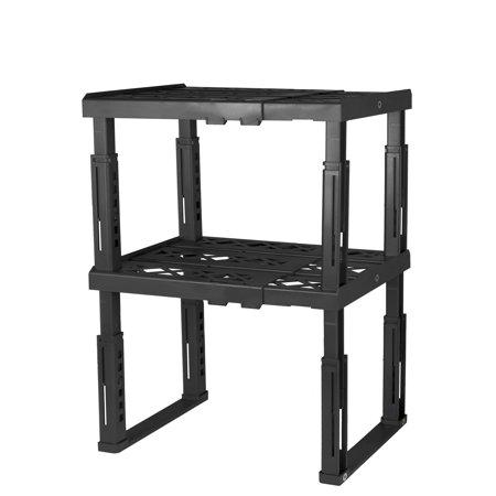 Tools for School Locker Shelf, Adjustable in Height and Width, Black (2-Pack)