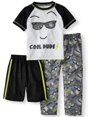 Short Sleeve Top, Shorts & Pants Pajamas, 3-piece Set (Toddler Boys)