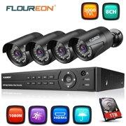 FLOUREON 8CH Security Surveillance DVR System + 4 Pack CCTV Camera (8CH 1080N AHD 3000TVL