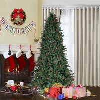 Costway 6FT/7FT/8FT Artificial PVC Christmas Tree 1388/1918/2528 Tips Green w/Pine Cones & Red Berries