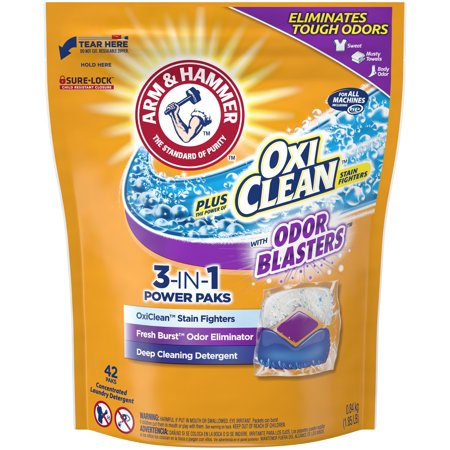 ARM & HAMMER plus OxiClean Odor Blasters 3-IN-1 Power Paks, 42ct