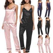 70fce1fcd2 Women Lady Silk Satin Pajamas Set Pyjama Sleepwear female Nightwear  Loungewear Homewear camis and long pants