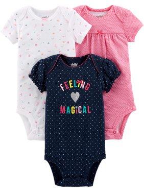 Short Sleeve Bodysuits, 3-pack (Baby Girls)
