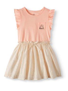 Ruffle Sleeve Cinch Waist Dress (Toddler Girls)