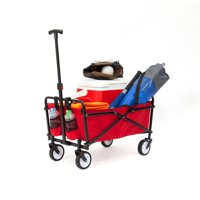 Seina Manual 150 Pound Capacity Steel Compact Folding Outdoor Utility Cart, Red