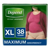 Depend Fit-Flex Incontinence Underwear for Women, Maximum Absorbency, XL, 38 Ct